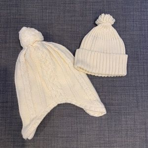 Baby Gap Cream Knit Beanie Hats (2)